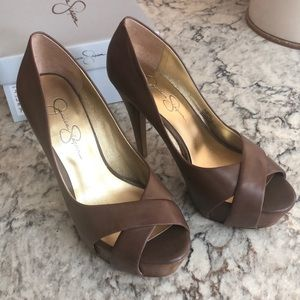 Light Brown New Kentucky Leather AGomez Heels NIB